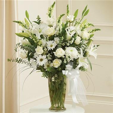 Large White Sympathy Vase Arrangement 1 800 Flowers Conroys